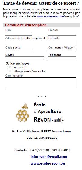 Infos REVON asbl, ecole d'apiculture