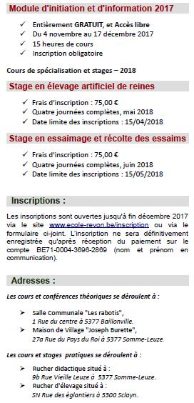 Programme de stages 2018, école d'apiculture REVON asbl, Somme-Leuze